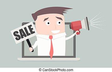 homem negócios, laptop, venda