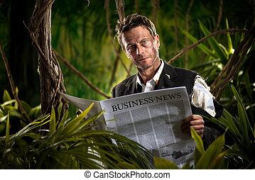 homem negócios, leitura, notícia financeira, em, a, selva