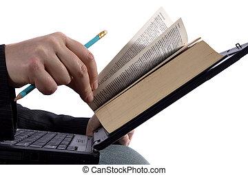 homem negócios, leitura, um, e-livro