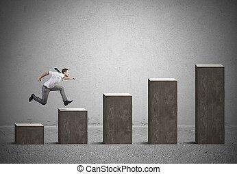 homem negócios, levanta-se, estatísticas