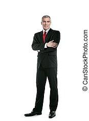 homem negócios, levantar, posar, comprimento, laço, terno ...