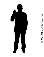 """homem negócios, -, levantar, posição, -""""i, ter, idea!"""".,..."""