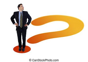 homem negócios, ligado, marca pergunta