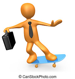 homem negócios, ligado, skateboard