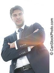 homem negócios, ligado, um, fundo, de, um, vazio, quarto conferência