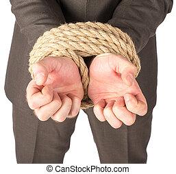 homem negócios, limite, com, corda