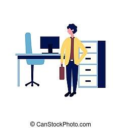homem negócios, local trabalho, escritório