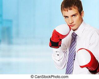 homem negócios, luvas boxing, jovem