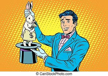 homem negócios, mágico, coelhinho, dinheiro