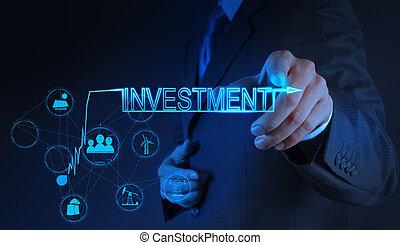 homem negócios, mão apontando, para, investimento, conceito