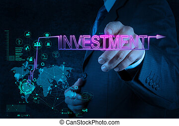 homem negócios, mão apontando, para, investimento, diagrama