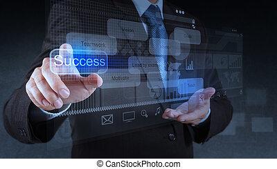 homem negócios, mão apontando, para, sucesso, diagrama