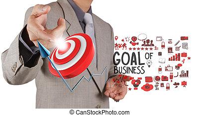 homem negócios, mão, aponte, meta, de, negócio, como, conceito