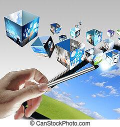 homem negócios, mão, aponte, virtual, negócio, processo, diagrama
