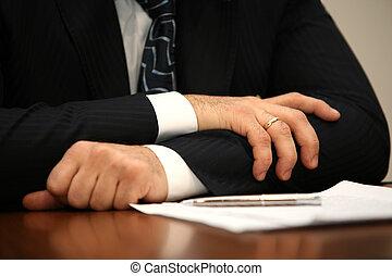 homem negócios, mão