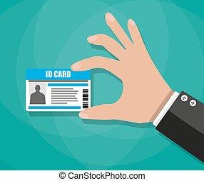homem negócios, mão, cartão id, segurando