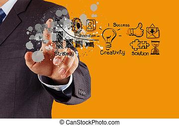 homem negócios, mão, com, a, arte, de, negócio