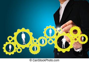 homem negócios, mão, delinear, engrenagem, para, sucesso, conceito