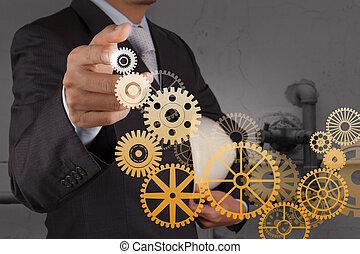 homem negócios, mão, delinear, engrenagem, para, sucesso