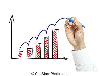 homem negócios, mão, desenho, crescimento, gráfico