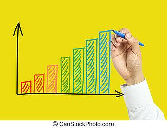 homem negócios, mão, desenho, crescimento, gráfico, conceito