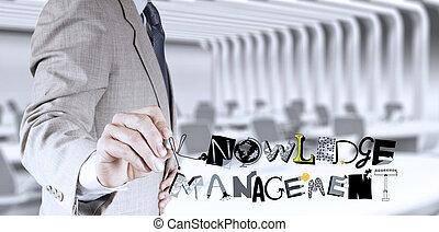 homem negócios, mão, desenho, desenho, palavra, conhecimento, gerência, como, conceito