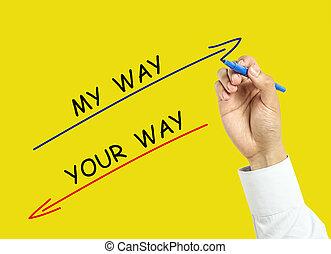 homem negócios, mão, desenho, meu, maneira, e, seu, maneira, conceito