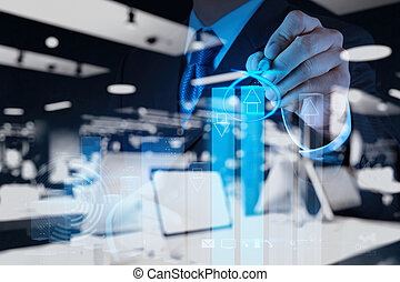 homem negócios, mão, desenho, virtual, mapa, negócio