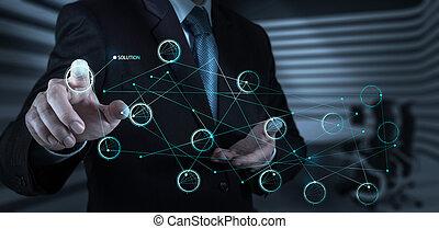 homem negócios, mão, empurrar, solução, diagrama, ligado,...
