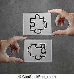 homem negócios, mão, mostrando, sociedade, quebra-cabeça, sinal, conceito