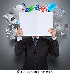 homem negócios, mão, mostrar, livro, de, sucesso, negócio