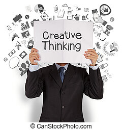 homem negócios, mão, mostrar, pensar creativo, cobertura,...