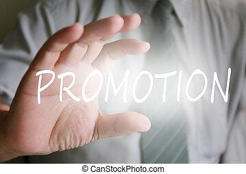 homem negócios, mão, promoção