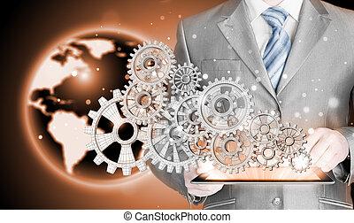 homem negócios, mão, toque, engrenagem, para, sucesso, conceito