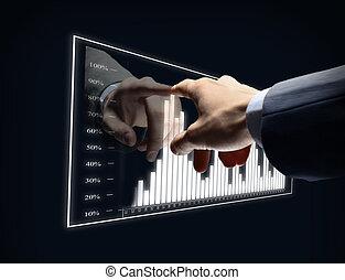 homem negócios, mão, toque, virtual, diagrama