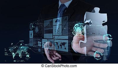 homem negócios, mão, trabalhando, com, computador,...