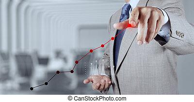 homem negócios, mão, trabalhando, com, novo, modernos, computador, e, estratégia negócio, como, conceito