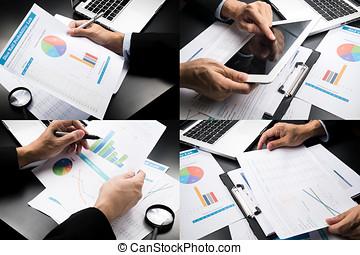 homem negócios, mão, trabalhando, marketing