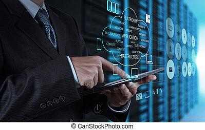 homem negócios, mão, usando, tabuleta, computador, e, quarto...