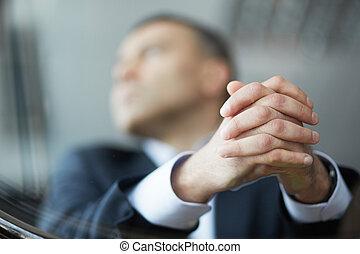 homem negócios, mãos