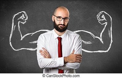 homem negócios, músculos, -, forte, desenhado