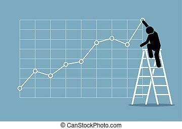 homem negócios, mapa crescimento