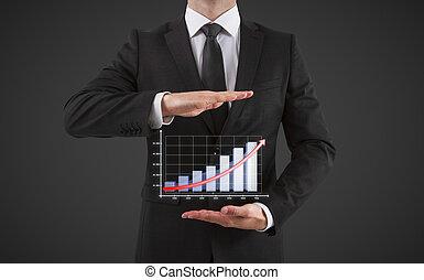 homem negócios, mapa, mostra