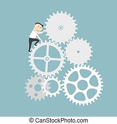 homem negócios, mecanismo, engrenagem, negócio, sistema