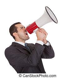 homem negócios, megafone, gritando