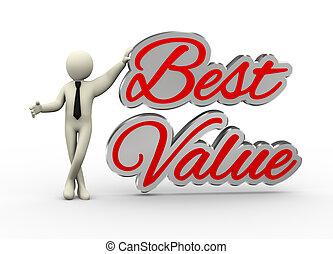 homem negócios, melhor, valor, 3d