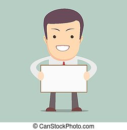homem negócios, mensagem, segurando, em branco