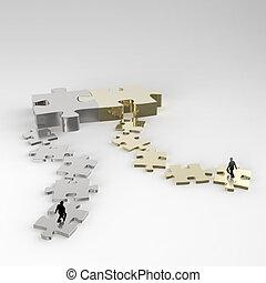 homem negócios, metal, quebra-cabeça, ícone, 3d, conceito, sociedade
