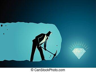 homem negócios, mineração, tesouro, achar, cavando
