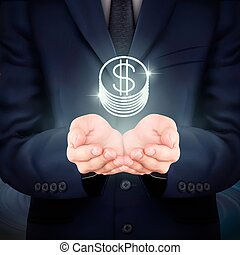 homem negócios, moeda, segurando, ícone